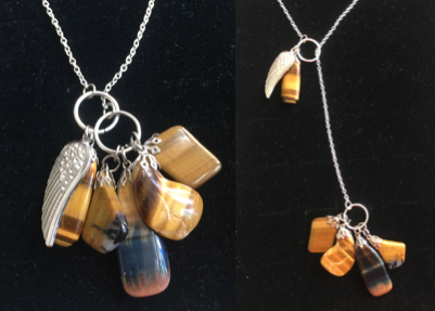 Lariat Tiger Eye Necklace with Angel Wing